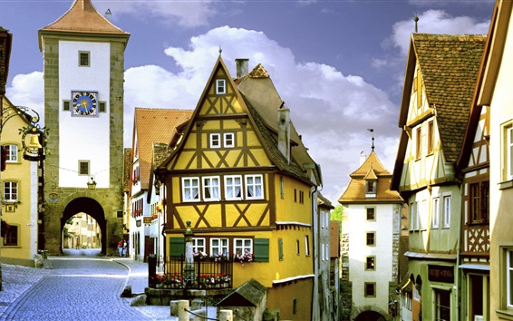 Wallpaper Travel to Germany, Rothenburg, Bayern, street, houses