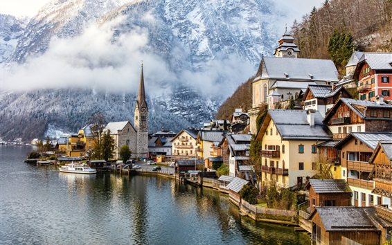 Wallpaper Travel to Hallstatt, Austria, mountains, alps, houses, fogs, trees, snow, winter