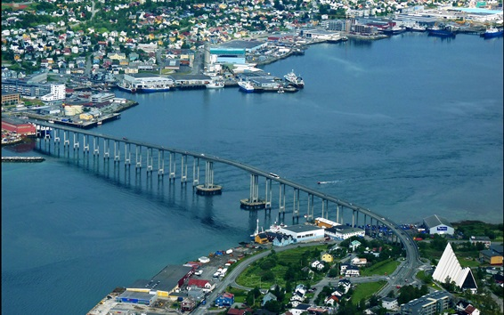 Wallpaper Tromso, Norway, city, top view, bridge, river