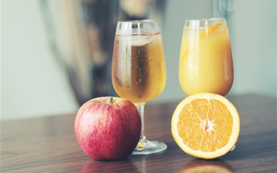 Wallpaper Two cups fruit juice, apple and orange