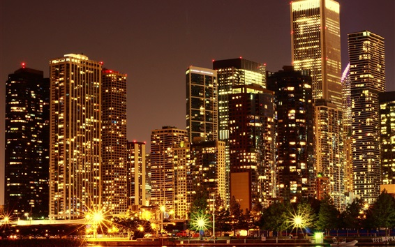 Wallpaper USA, city night views, skyscrapers, buildings, lights, illumination