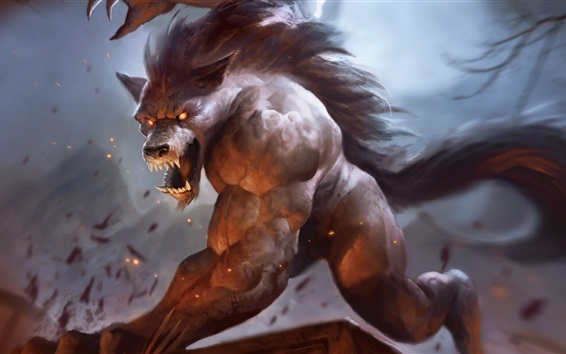 Wallpaper Werewolf, teeth, art pictures