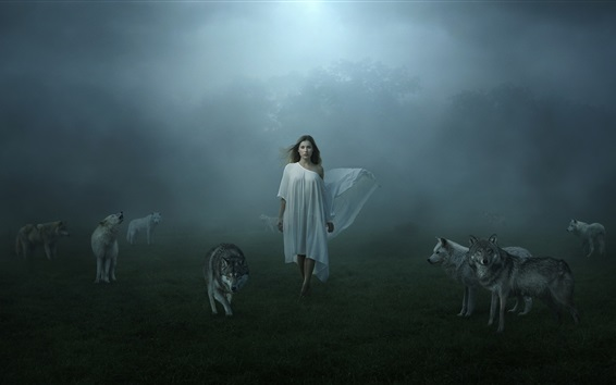 Wallpaper White dress girl and wolves, fog
