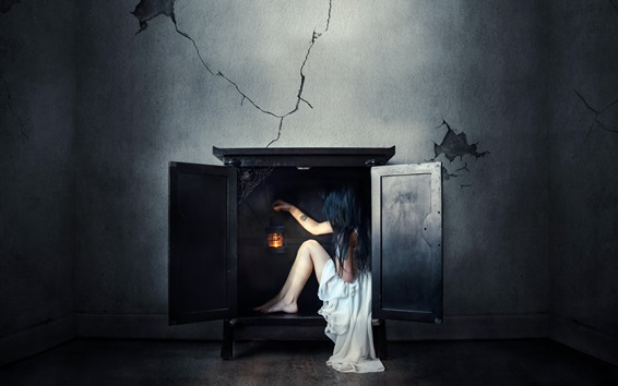 Wallpaper White dress girl sit in the fireplace, wall, creative picture