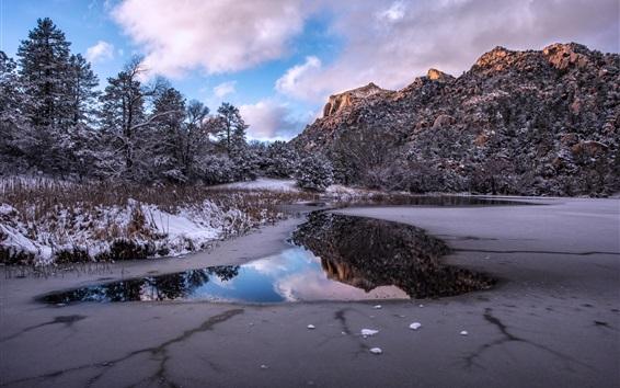 Обои Зима, горы, снег, пруд, деревья, облака