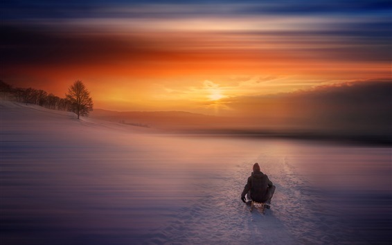 Winter, snow, morning, sunrise, sled, people Wallpaper Preview