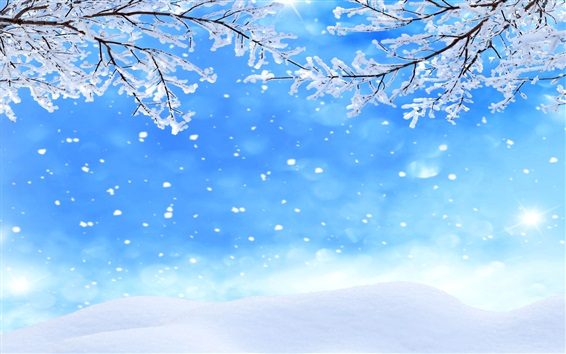 Wallpaper Winter, twigs, snow, snowflakes, sky
