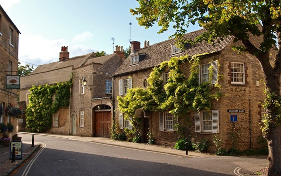 Wallpaper Woodstock, Oxfordshire, England, street, houses, town