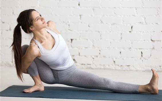 Fond d'écran Entraînement, yoga, long, cheveux, girl