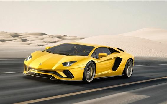 Wallpaper 2017 Yellow Lamborghini Aventador supercar at desert