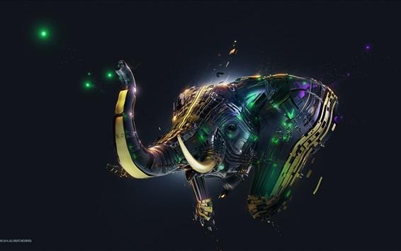 Wallpaper 3D abstract elephant, creative design