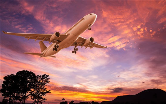 Обои Самолет, взлет, сумерки, закат, облака, силуэты