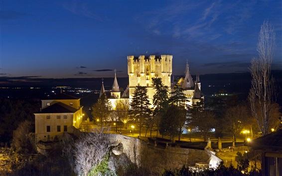 Wallpaper Alcazar Segovia, Spain, castle, lights, trees, dusk