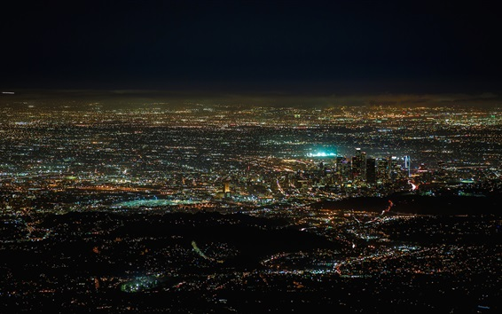 Wallpaper America, California, night city, lights, from top view