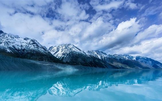 Fond d'écran Aoraki, montagne, lac, neige, Nouvelle-Zélande
