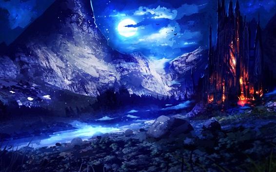 Обои Художественная фотография, художественная литература, здания, ночь, луна, облака, горы
