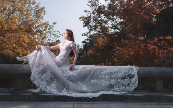 배경 화면 아시아 여자, 신부, 흰 드레스, 포즈