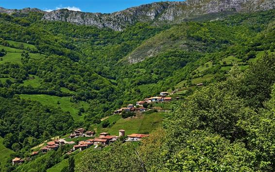Fond d'écran Asturies, Espagne, maisons, montagnes
