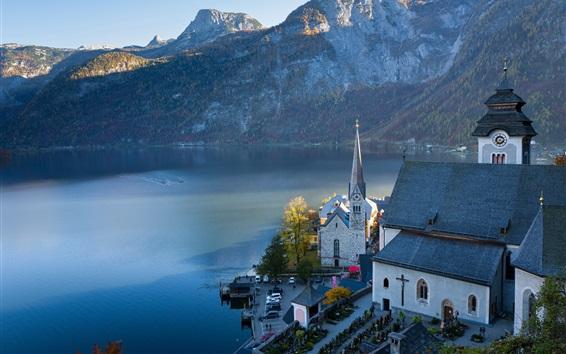 Wallpaper Austria, Hallstatt, mountains, lake, Alps, town