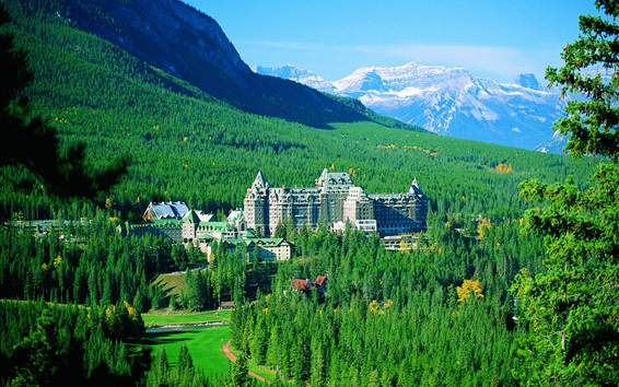 Wallpaper Banff National Park, mountains, trees, Springs Hotel, Canada