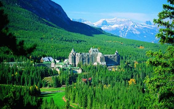 壁紙 バンフ国立公園、山、木々、スプリングスホテル、カナダ