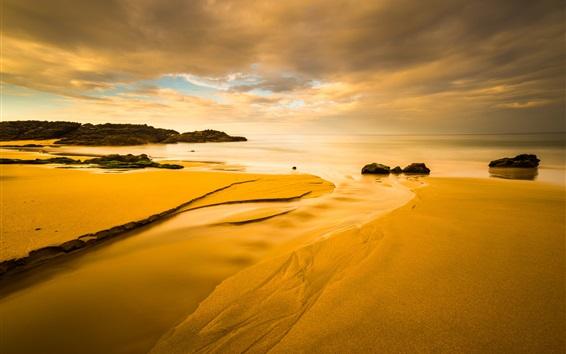 壁紙 ビーチ、海岸、海、雲、日没