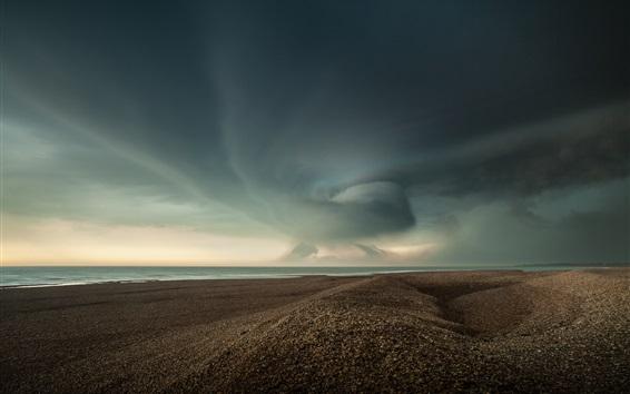 壁紙 ビーチ、砂、海、雲、嵐