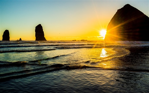 Papéis de Parede Bonito, pôr do sol, mar, costa, água, pedras, sol, raios