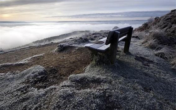 Обои Скамья, гора, река, трава, туман, утро