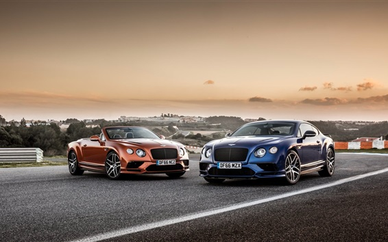 Обои Бентли коричневые и синие автомобили