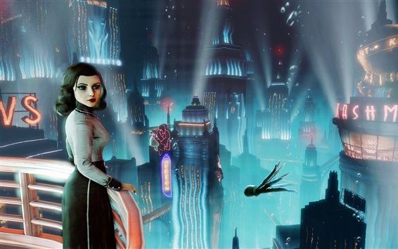 Обои BioShock Infinite, девушка оглядывается назад, город