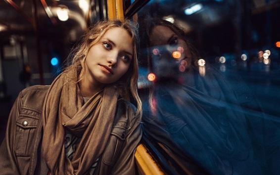 Wallpaper Blonde girl, blue eyes, window, rain