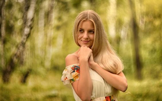 Wallpaper Blonde girl, face, smile