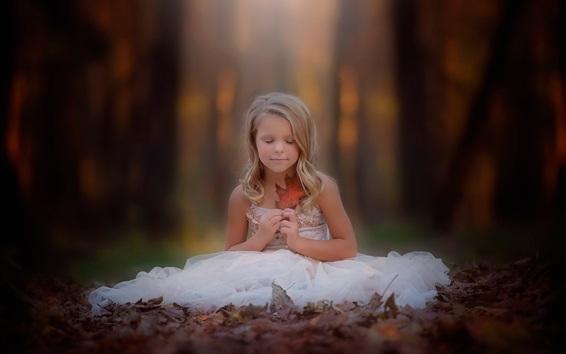 Wallpaper Blonde little girl, sit on the ground, white skirt, leaf, autumn