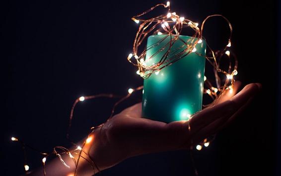 Wallpaper Blue candle, lights, hand