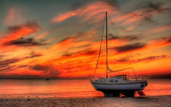 Wallpaper Boat, yacht, beach, sea, red sky, sunset