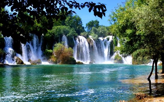 Papéis de Parede Bósnia e Herzegovina, cachoeiras, árvores