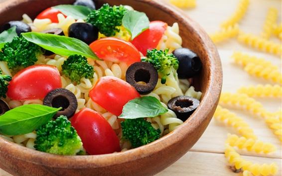Wallpaper Breakfast, noodle, tomatoes, broccoli