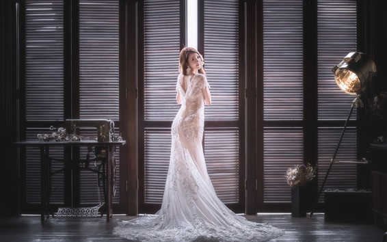 Wallpaper Bride look back, Asian girl, room, window