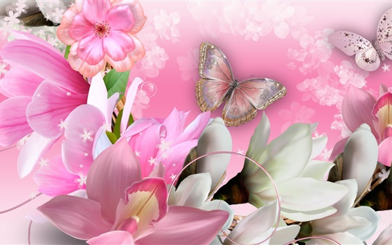 Wallpaper Butterfly, orchids, flowers, collage, creative design