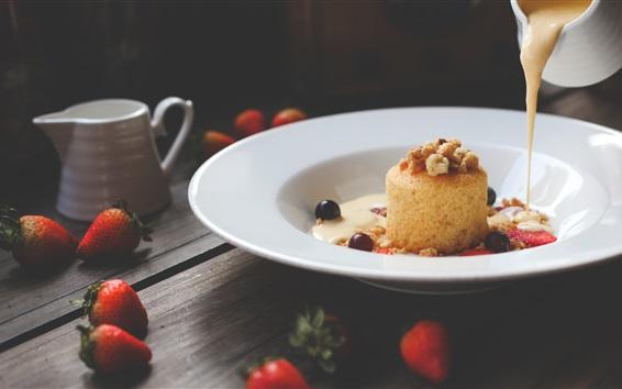Wallpaper Cake, dessert, strawberry, milk
