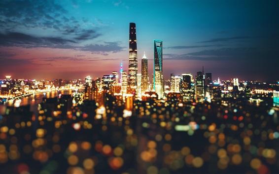 Wallpaper China, city, Shanghai, night, lights, blurry