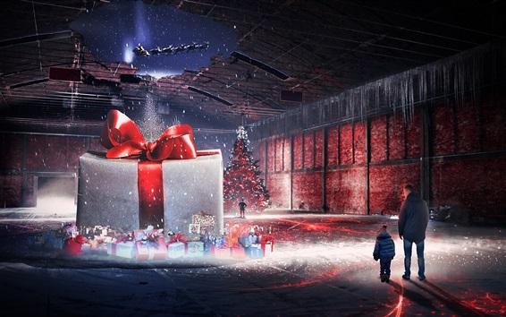 Fondos de pantalla Tema de Navidad, imagen creativa, regalos, árbol