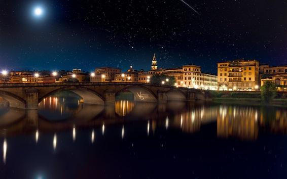 Fond d'écran Ville, nuit, pont, rivière, maisons, lumières, étoiles
