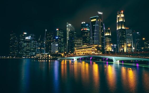 Wallpaper City night, skyscrapers, lights, bridge, bay
