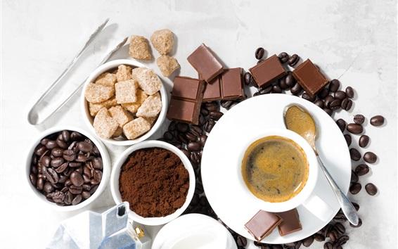 Wallpaper Coffee beans, chocolate, sugar, cup