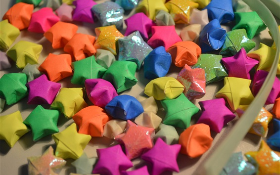 Wallpaper Colorful origami stars