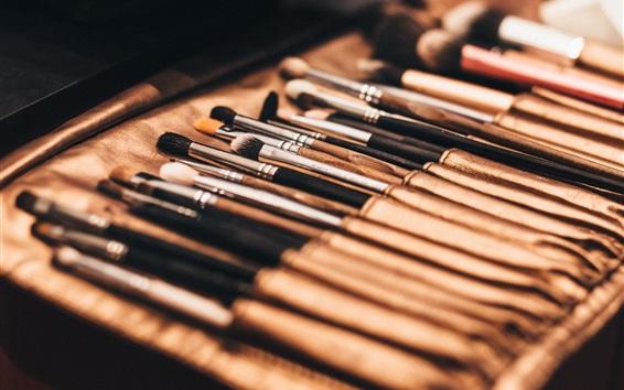 Wallpaper Cosmetics set, brushes close-up