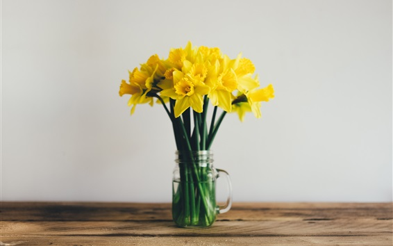 Wallpaper Daffodils, yellow flowers, vase