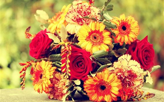 Fondos de pantalla Margarita, rosa, claveles, ramo, flores
